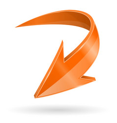Down arrow 3d shiny orange web icon vector