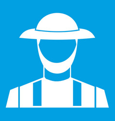 Farmer icon white vector