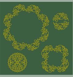 floral frame and logo set vector image