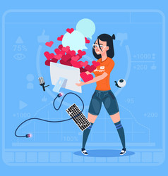 girl blogger hold computer with many likes modern vector image