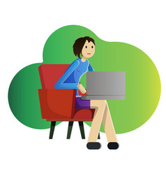Girl freelancer with laptop vector