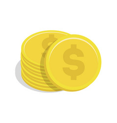 Gold coin stack with dollar sign icon vector
