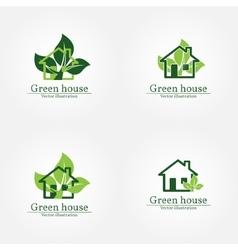 Green house logo Energy saving concept vector