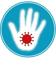 halftone hand with coronavirus symbol vector image