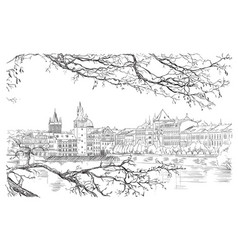 Hand drawing prague 9 vector