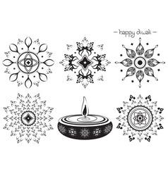 Hand Drawn Diwali Designs vector image