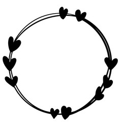 Hand drawn heart wreath ink vector