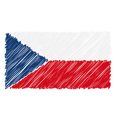 hand drawn national flag of czech republic vector image
