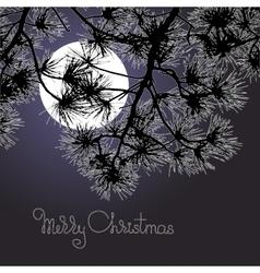 Handwritten words Merry Christmas moon and pine vector image vector image