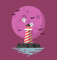haunted lighthouse with moon on background vector image