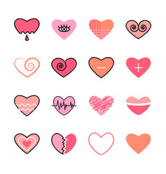 hearts flat and line icon pink color set vector image