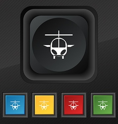 Helicopter icon symbol Set of five colorful vector