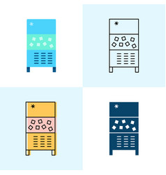 ice maker machine icon set in flat and line styles vector image