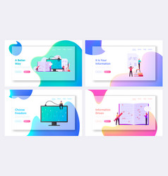 information coding landing page template set tiny vector image