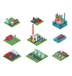Isometric oil industry set vector