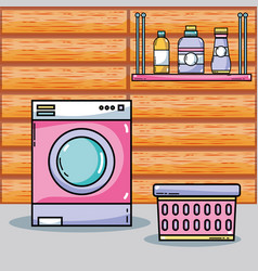 Laundry equipment to clean the domestic clothes vector