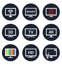 lcd tv icons vector image