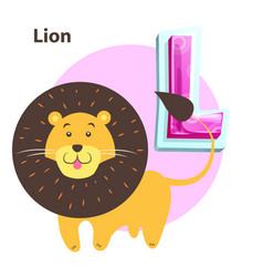 lion for l letter in english alphabet for children vector image