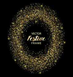 Luxury and golden glitter oval festive frame vector