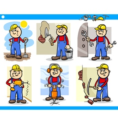 Manual workers or workmen characters set vector