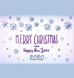 merry christmas and happy new year 2020 year blue vector image