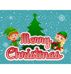 Merry Christmas poster with elf and present vector