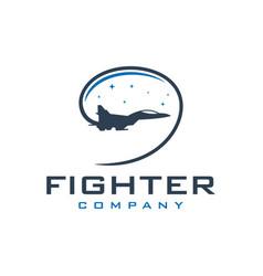 military jet aircraft logo vector image