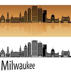 Milwaukee skyline in orange vector image