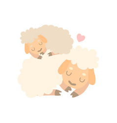 Mother sheep and baby lamb cute animal family vector