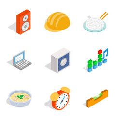 New day icons set isometric style vector