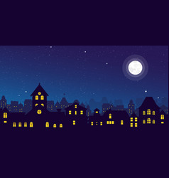 Night town skyline vector