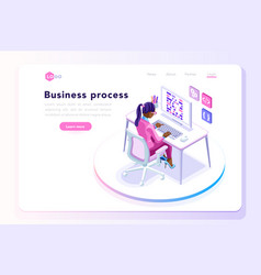 Office concept for web site banner vector