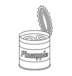 Pineapple tin can icon outline style vector