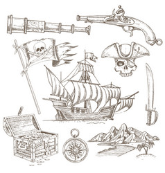 Pirate elements hand drawn set vector