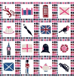 Plaid fabric seamless pattern big english set vector image
