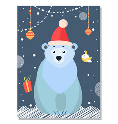 polar white bear among christmas decoration balls vector image