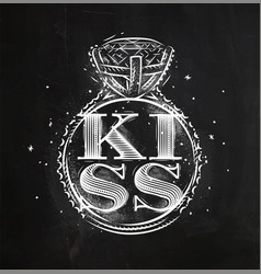 Poster ring kiss chalk vector