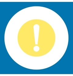 Problem flat yellow and white colors round button vector image
