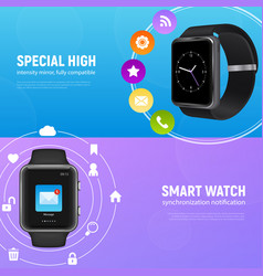 realistic smart watch banner set vector image