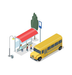 School bus stop isometric 3d icon vector