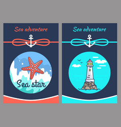 Sea adventure and star two vector
