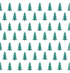 seamless pattern with christmas tree winter fores vector image