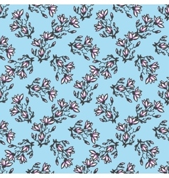 Seamless pattern with twig magnolia chinese style vector