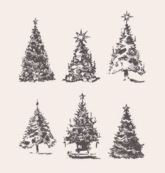 set drawn christmas trees vintage sketch vector image