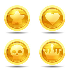 set game coin with star heart scull crown game vector image