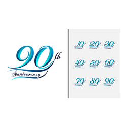 set of anniversary calligraphic and typographic vector image