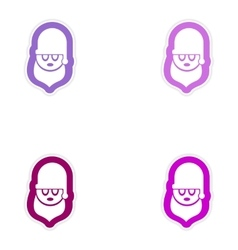 Set of paper stickers on white background Santa vector