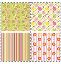 set of patterns with flower stripe and shape vector image