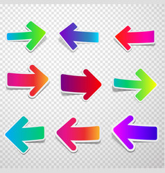 set of straight colorful arrows vector image