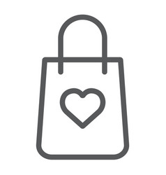 shopping bag with heart line icon package and vector image